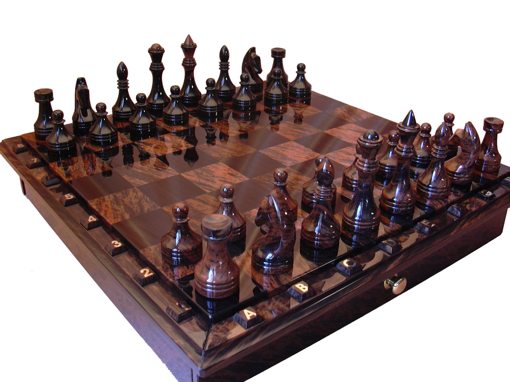 Chess backgammon handmade chess set 116 102 obsidian natural stone - Granite chess pieces ...